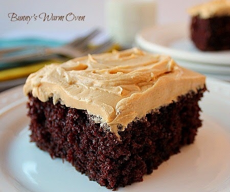 Homemade Chocolate Cake with Peanut Butter Frosting
