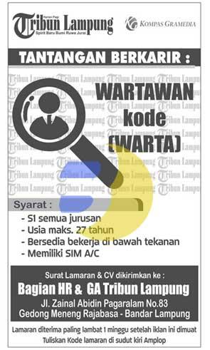 Lowongan Kerja WARTAWAN Tribun Lampung