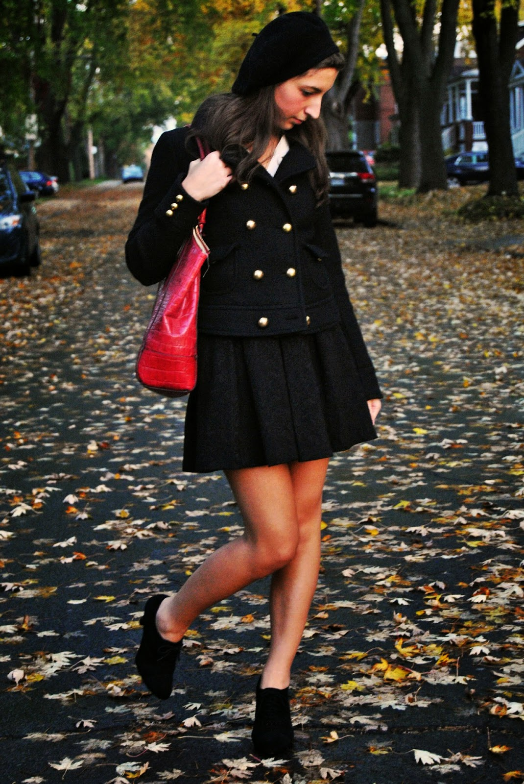 fall fashion red handbag black skirt jacket gold buttons beret