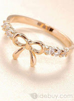 Elegant Korean Style Bow Knot Diamond Alloy Ladys Ring