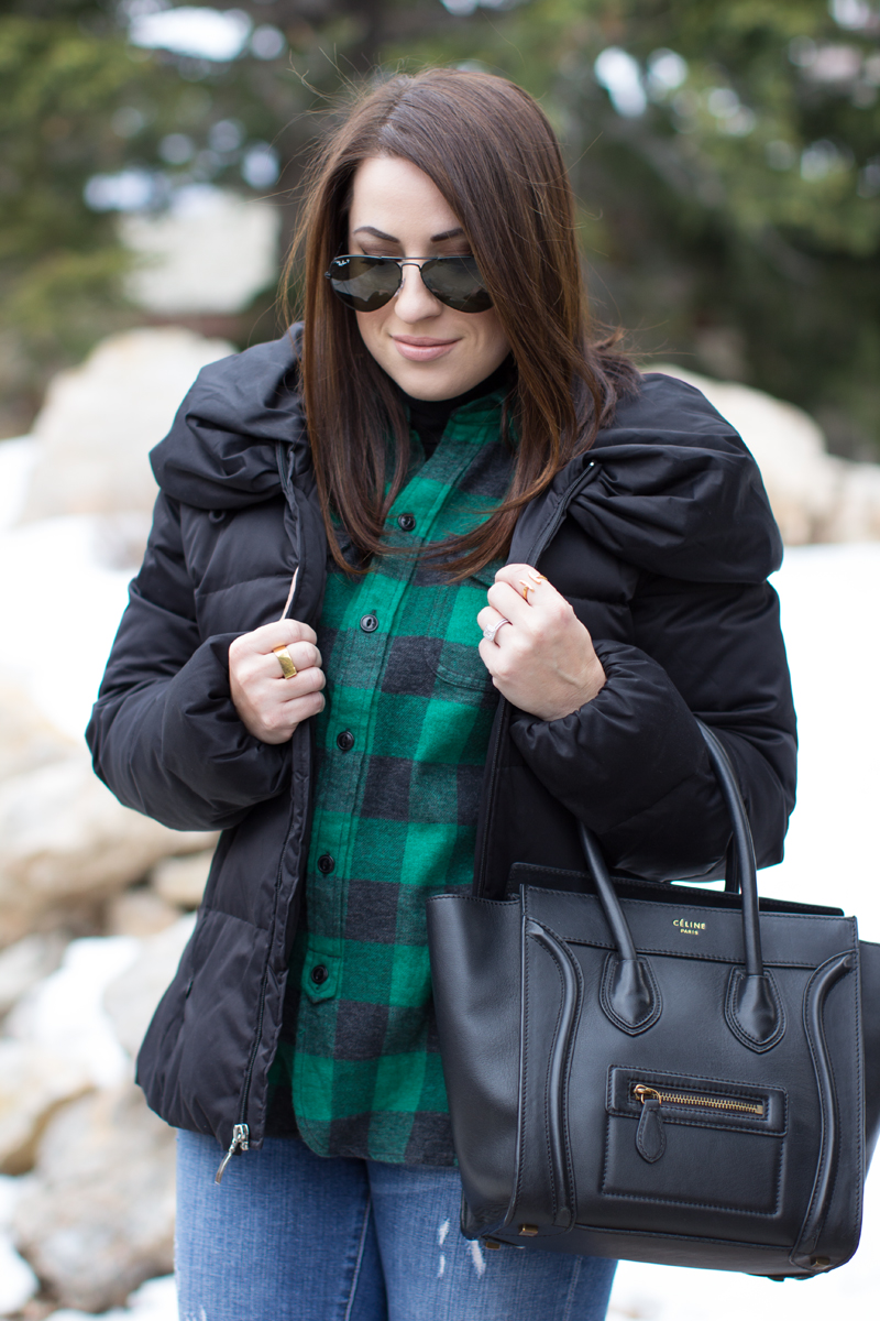green madewell buffalo check plaid shirt, celine tote, puffer coat, ray ban black aviators