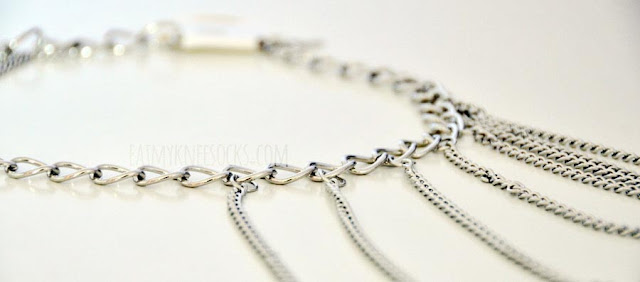 More close-ups of the silver shoulder chain harness from Born Pretty Store.