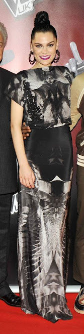 "Jessie J in Georgia Hardinge spined collection wearing the ""lung"" top and ""stained"" skirt"