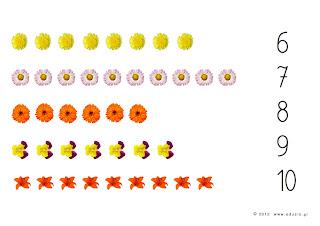 liczenie karty dla dzieci do wydrukowania kwiatki