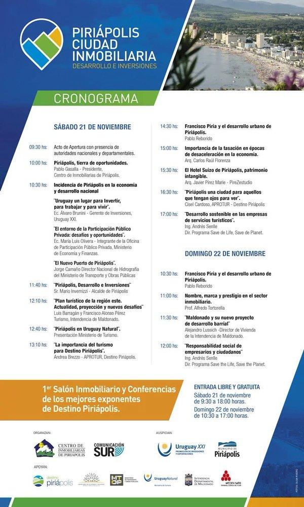 Agenda, Cronograma Piriápolis Ciudad Inmobiliaria