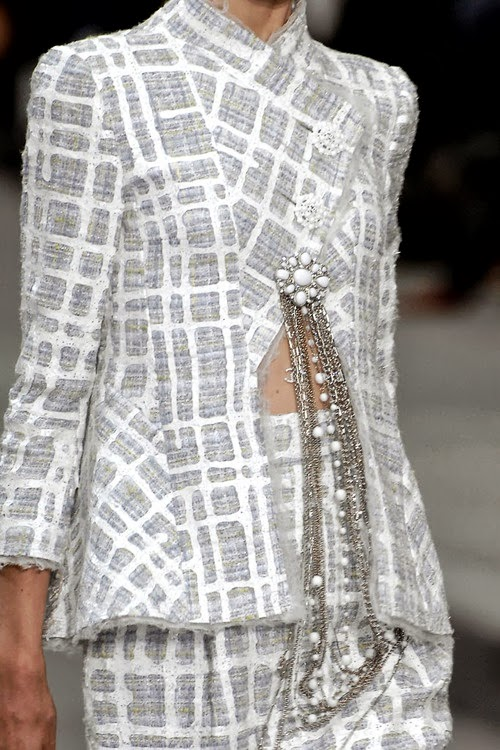 Chanel runway details: grey and white plaid tweed with necklaces