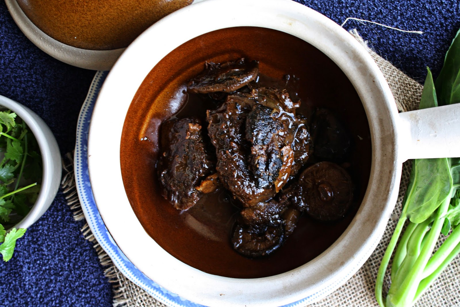 slow cooked ginger and dark soy beef cheeks pot