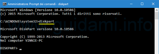 Windows Prompt dei comandi avvia diskpart