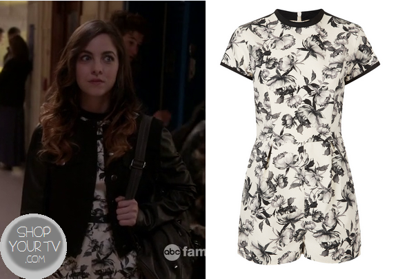 Twisted: Season 1 Episode 8 Pheobe's Black and White Floral Playsuit