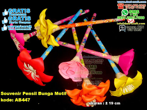 Souvenir Pensil Bunga Motif