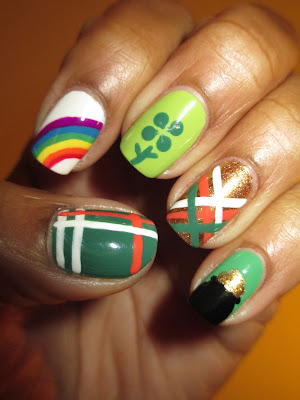 St Patricks Day, rainbow, clover, pot of gold, plaid, green, gold, nails, nail art, nail design, mani