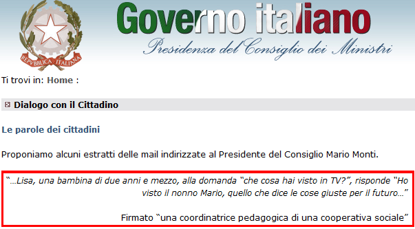 Nonleggerlo sul sito del governo davvero for Sito governo italiano