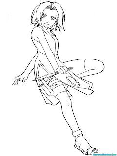 Mewarnai Gambar Sakura Berlatih Dengan Senjata Ninja