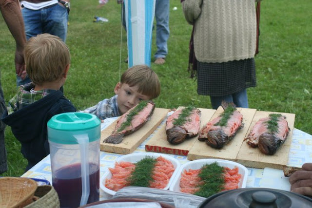 Family gathering with salmon