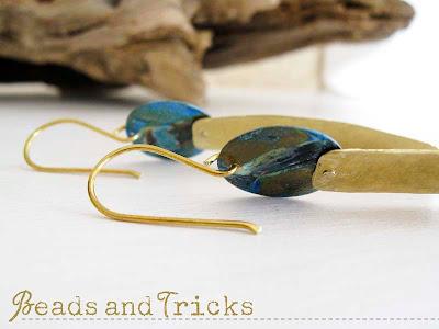 Orecchini ottone patina blu