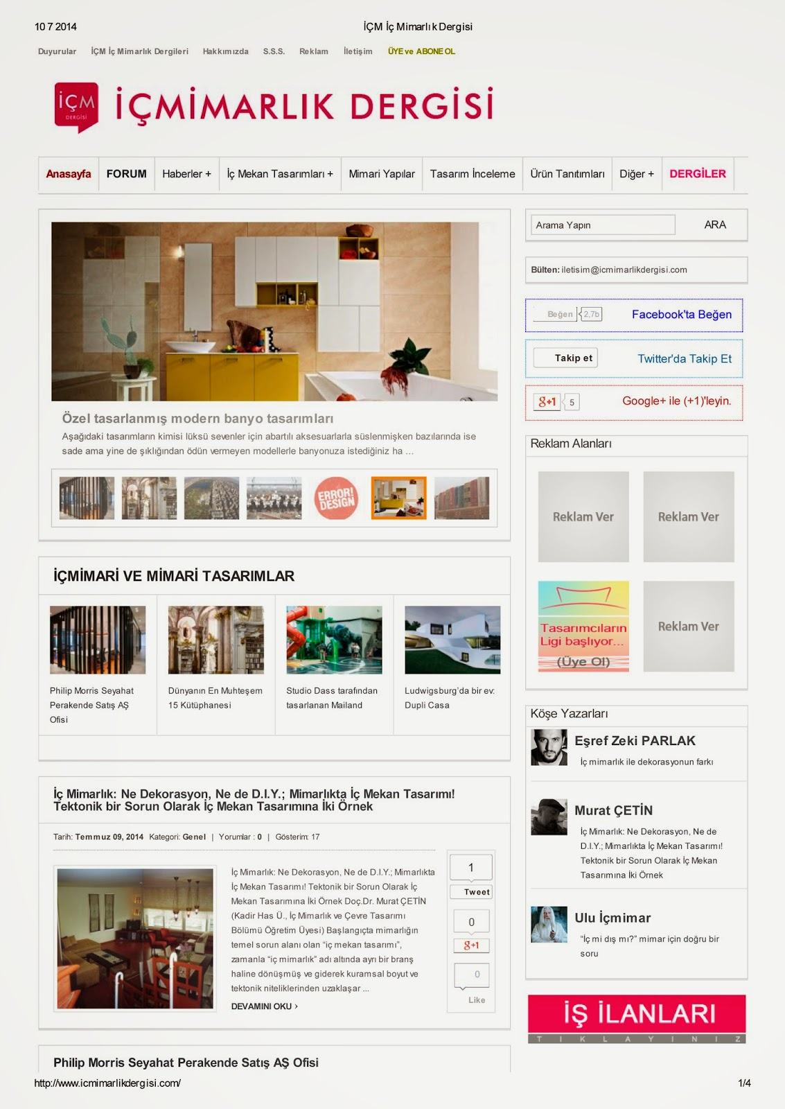 A NEW ARTICLE Mimarlk Dergisi INTERIOR ARCHITECTURE NEITHER DECORATION NOR DIY SPACE DESIGN IN TWO CASES FOR THE