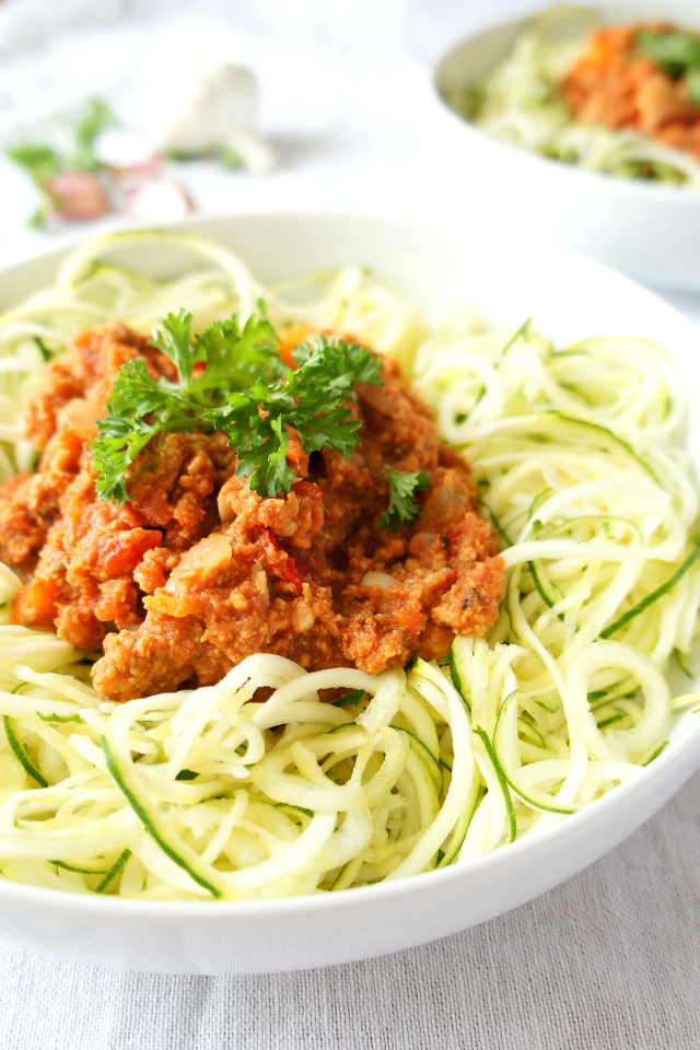 Slow cooker turkey spaghetti Bolognese with zucchini noodles.