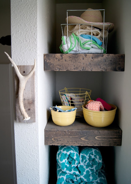 Bathroom Makeover - before & after - Chunky wood shelves in nook, antler & salvaged wood towel hook