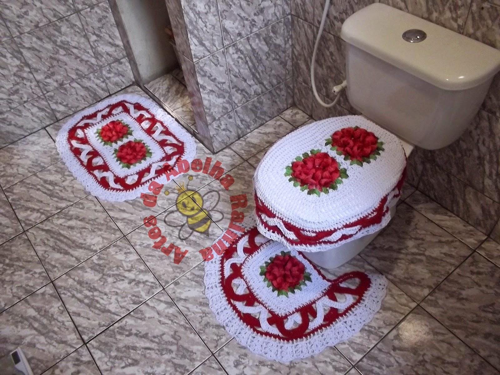 Rainha: Jogo de Banheiro de crochê Vermelho e Branco com Flores #9D2E3C 1600x1200 Banheiro Branco Vermelho