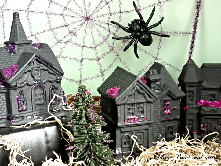 Vintage, Paint and more... Christmas village pieces from Dollar Tree painted with black chalkboard paint and glitter to make a Halloween village