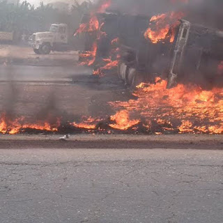 Fuel Tanker Currently On Fire At Lagos-Ibadan Expressway (Photos)