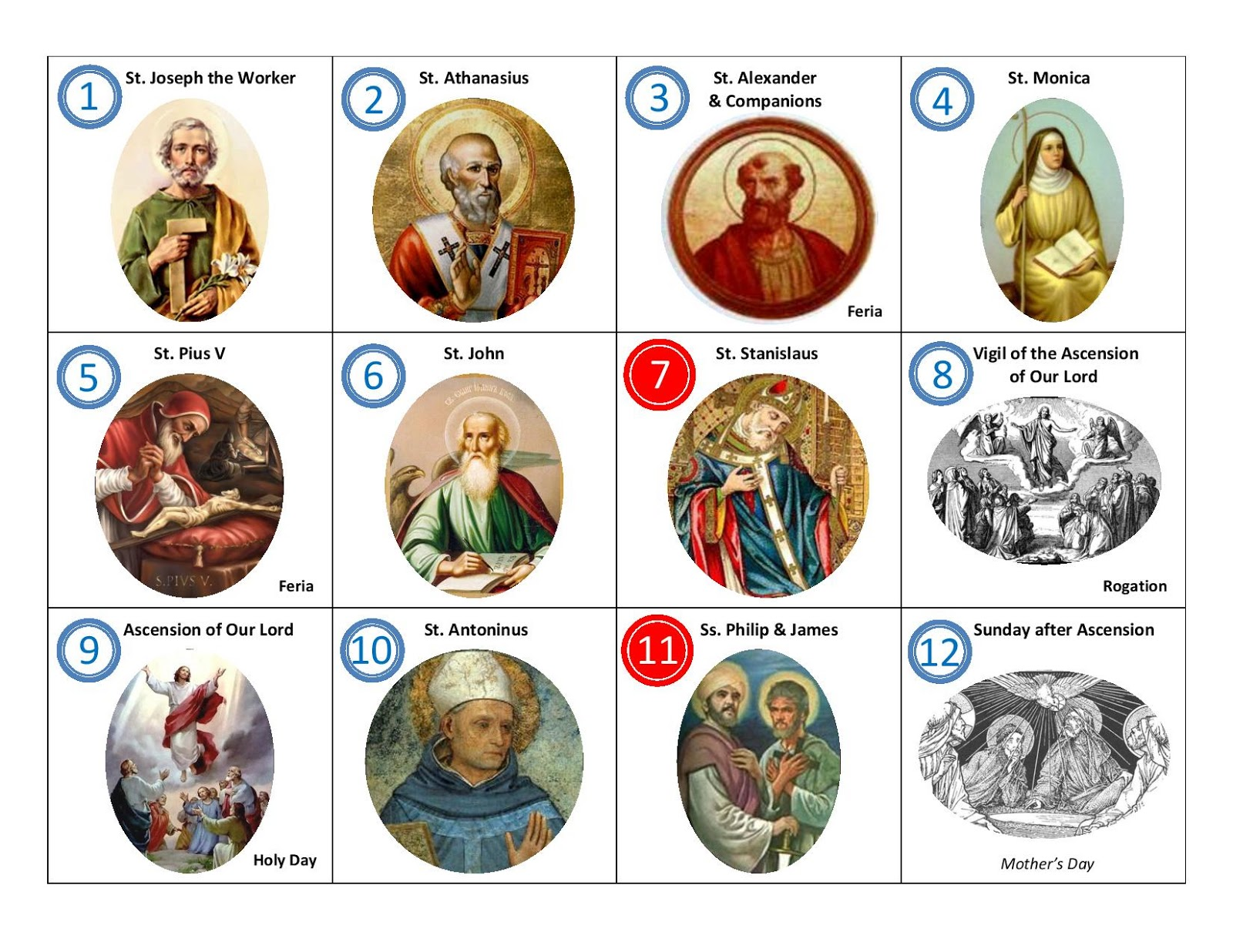Memories of a Catholic Wife & Mother: Saints for May Calendar