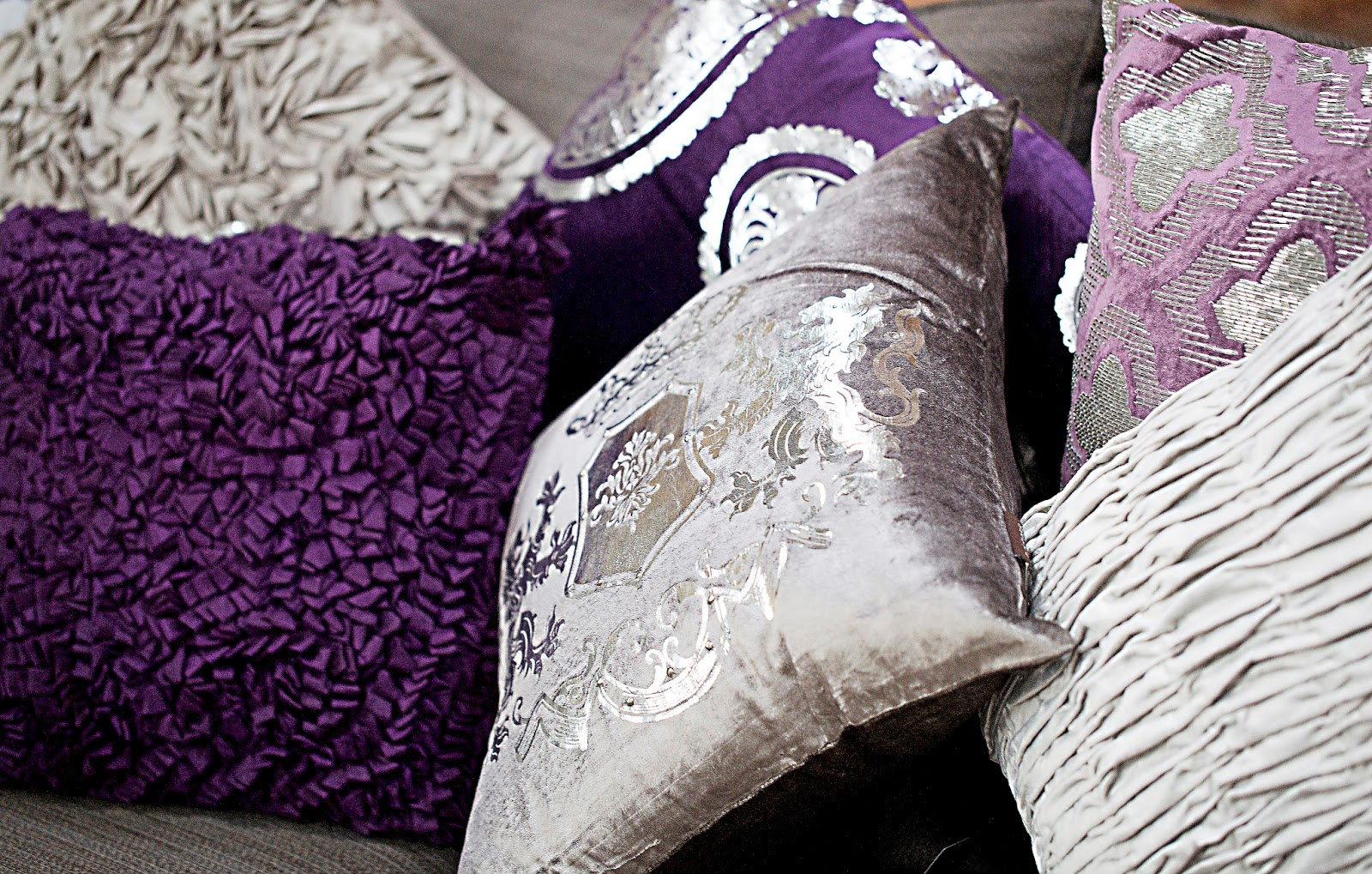 Purple Vintage Inspired Cushions