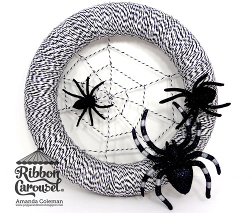 Easy spooky baker's twine spider web wreath tutorial