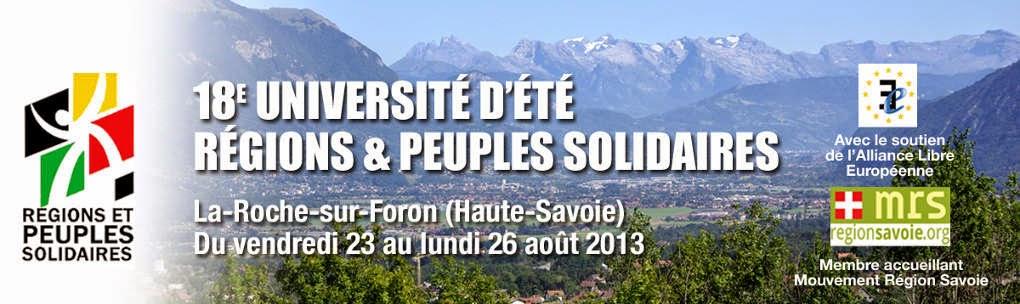 18e Université d'été de Régions et Peuples Solidaires 2013
