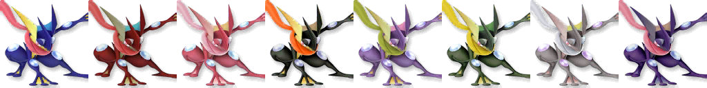 Greninja SSB4 Recolors by shadowgarion on DeviantArt