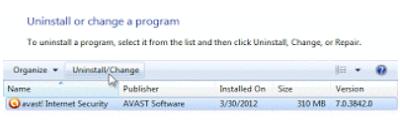 Cara Menghapus Avast Antivirus di Windows7