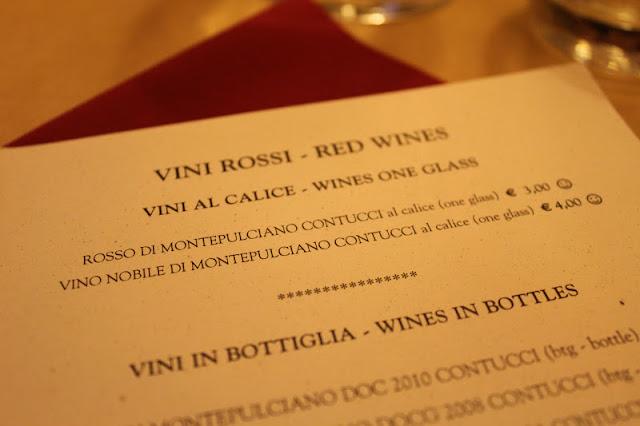 Wine list at Osteria del Conte, Montepulciano, Italy