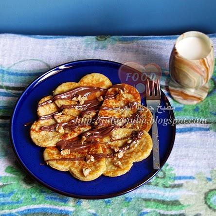 Heart-shaped Nutella Banana Pancakes قلوب بانكيك الموز بالنوتيلا والجوز