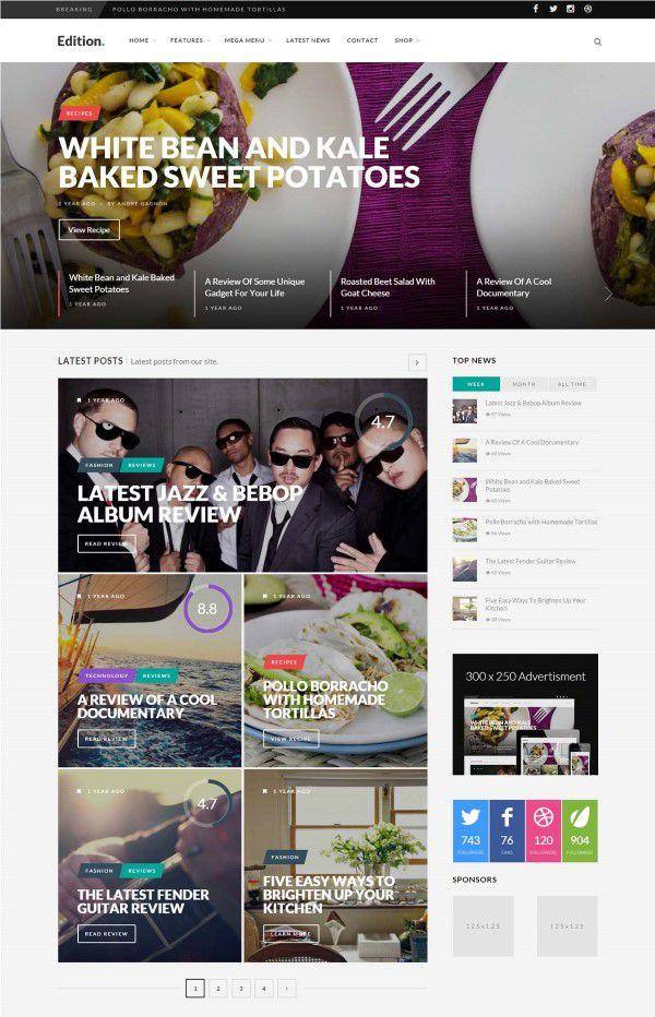 Edition responsive news blog and magazine