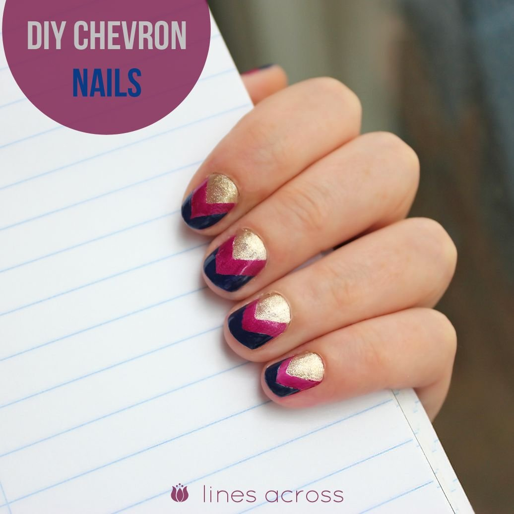 DIY Chevron Nails - Lines Across