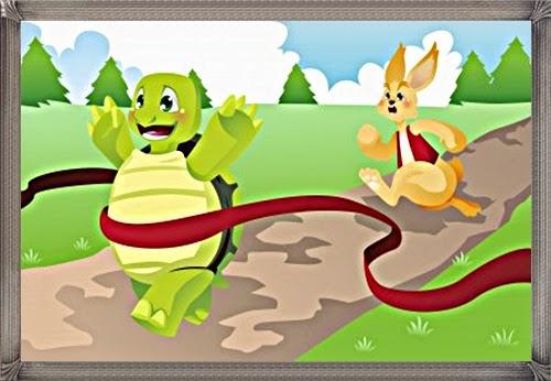 gambar ilustrasi cerita perlombaan kelinci melawan kura-kura