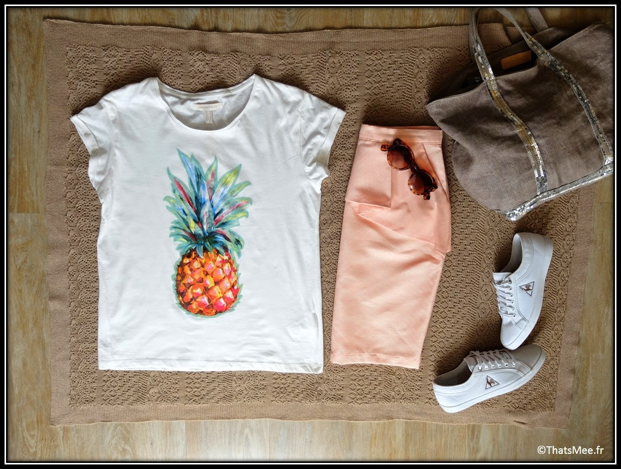 T-shirt ananas Springfield, tennis blanches Le Coq Sportif / derbies léopard Moa, lunettes de soleil My Little Box, cabas Vanessa Bruno