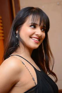 Actress Saloni Aswani Picture Gallery in Black Long Dress at (GAMA) Gulf Andhra Music Awards 2014 Press Meet  16.JPG