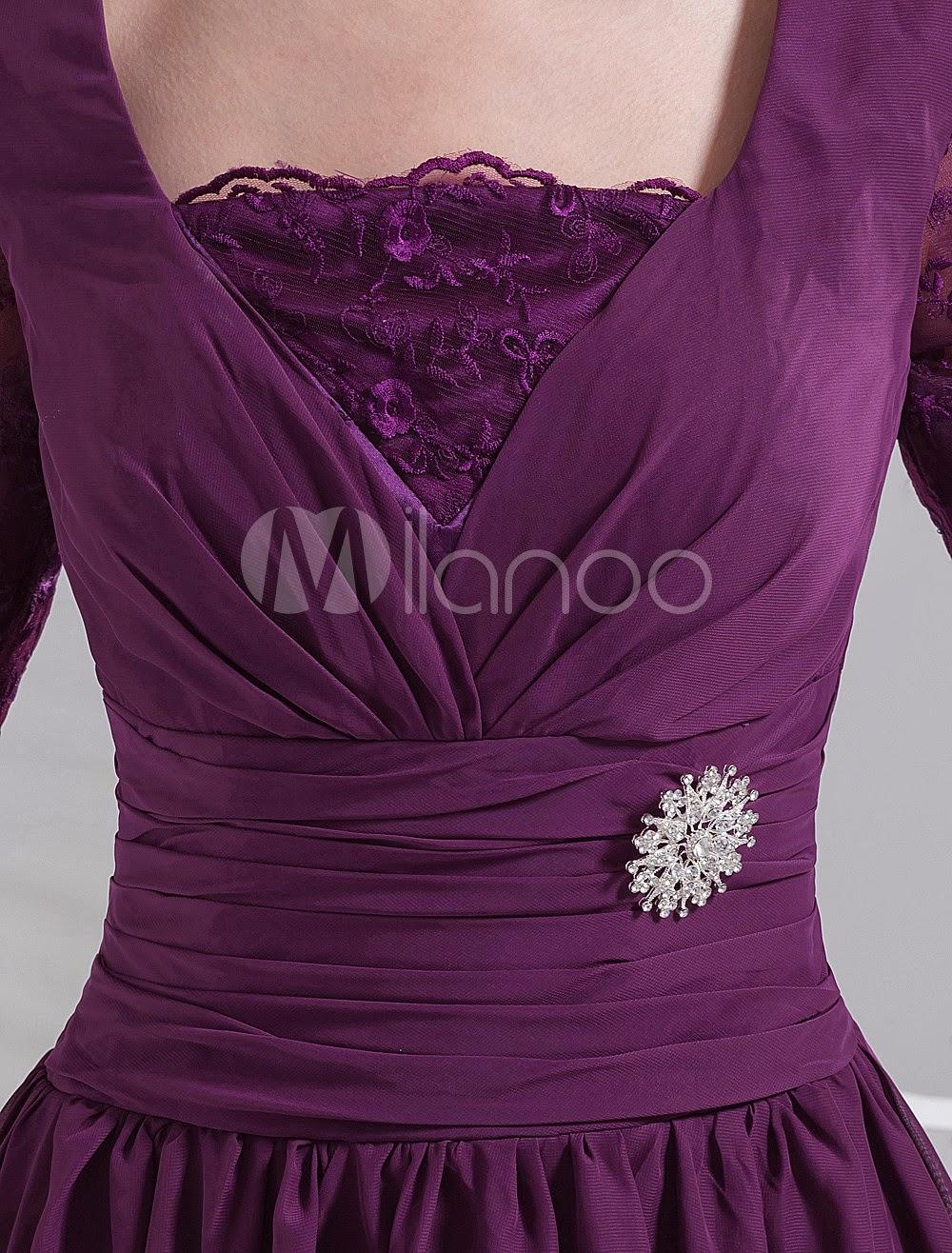 China Wholesale Clothes - Grape Square Neck Half Sleeves Knee Length Chiffon Prom Dresses