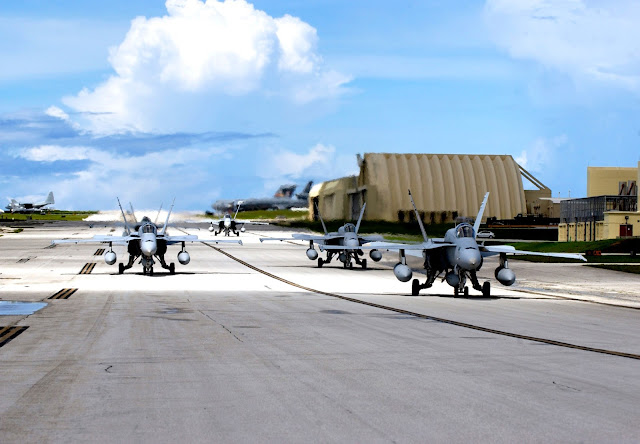 Five Navy F-18 Hornets from the Naval Air Station's Joint Reserve Base in New Orleans