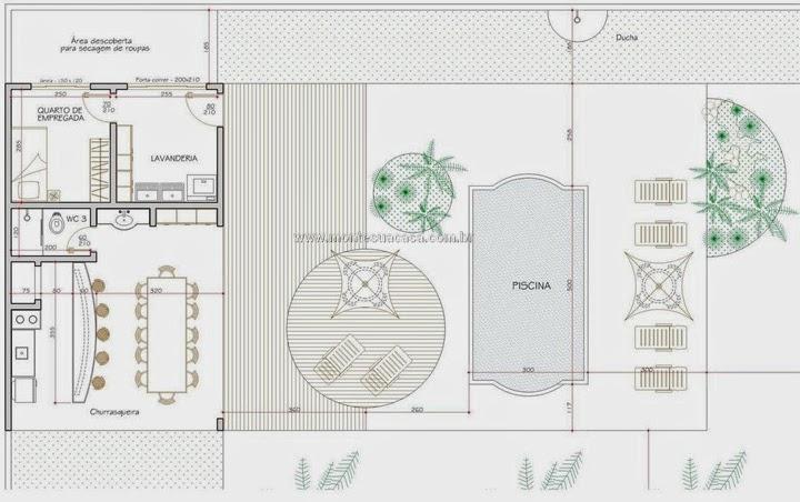 Planta piscina e churrasqueira casa de luxo