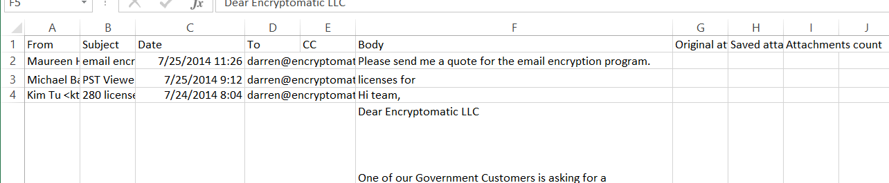 Image shows email text in Microsoft Excel which were imported from a .csv file.