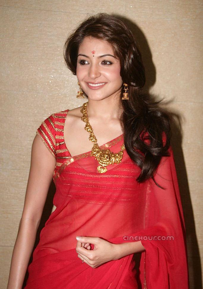 Anushka Sharma Stills In Red Saree