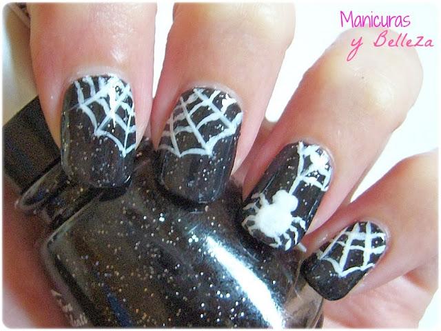 nail art manicura arañas telarañas negro blanco glitter halloween spiderwebs spider nails uñas decoradas diseños