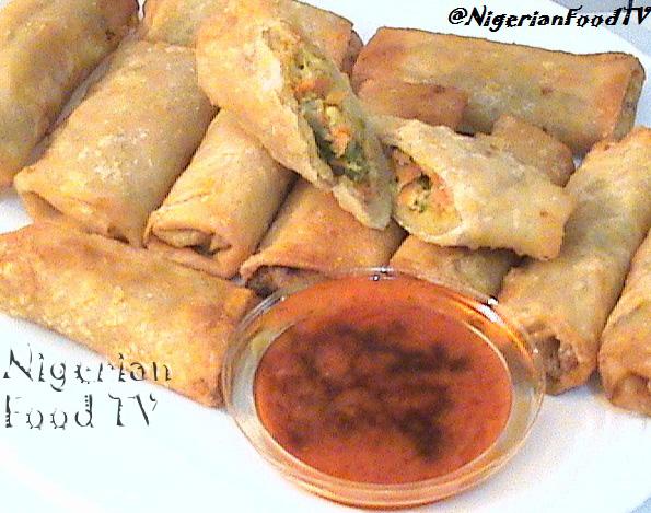 nigerian spring rolls, nigerian small chops, nigerian spring roll