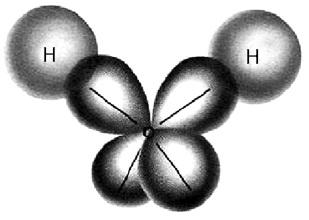 Struktur orbital hibrida sp3 pada atom oksigen dalam H2O.