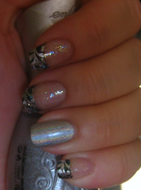 Silver Swirl Holographic Manicure