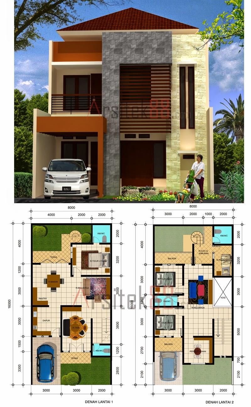 10 desain denah rumah minimalis modern 2 lantai type 45 - Desain Rumah Minimalis 2 Lantai Beserta Denah