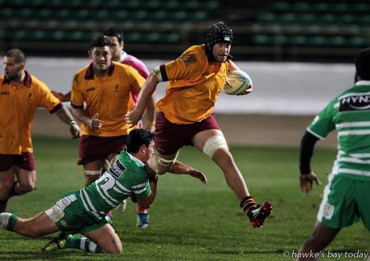 With ball: Mark Atkins, Hawke's Bay Saracens - rugby vs Manawatu Evergreens, at the FMG Stadium, Palmerston North. HB Saracens won 46-14 photograph