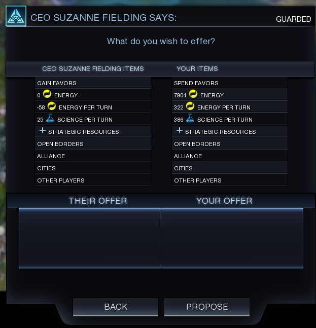 The Deal screen. Here you can offer resources in exchange for the goods and services of other colonies.